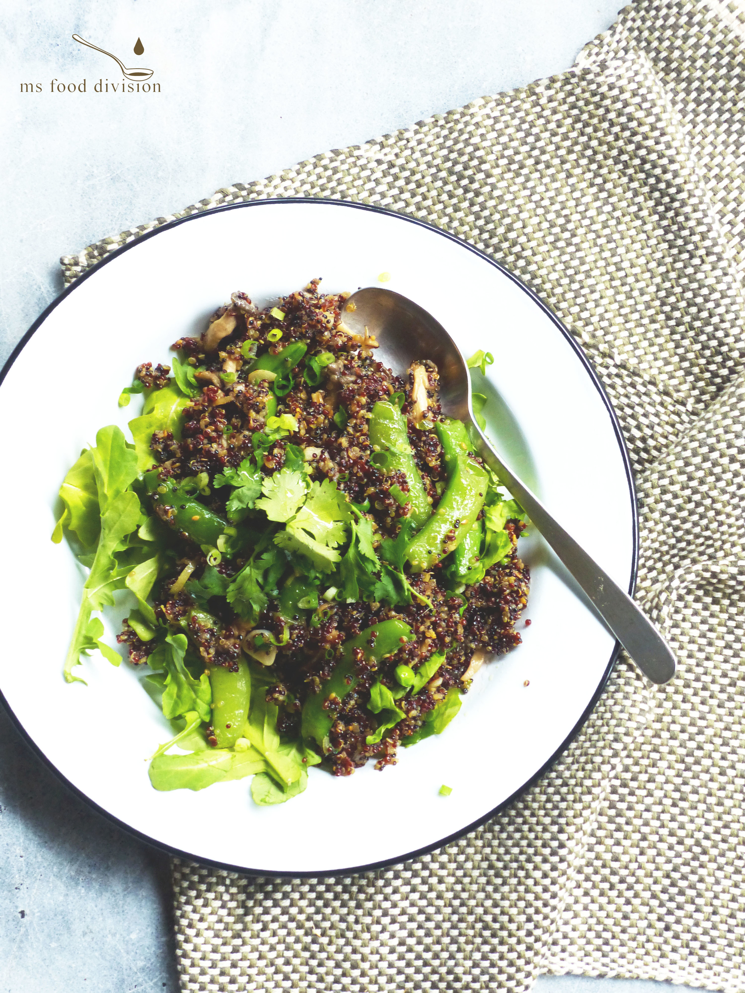 stir fry gingery mushroom & sugar snap peas quinoa salad