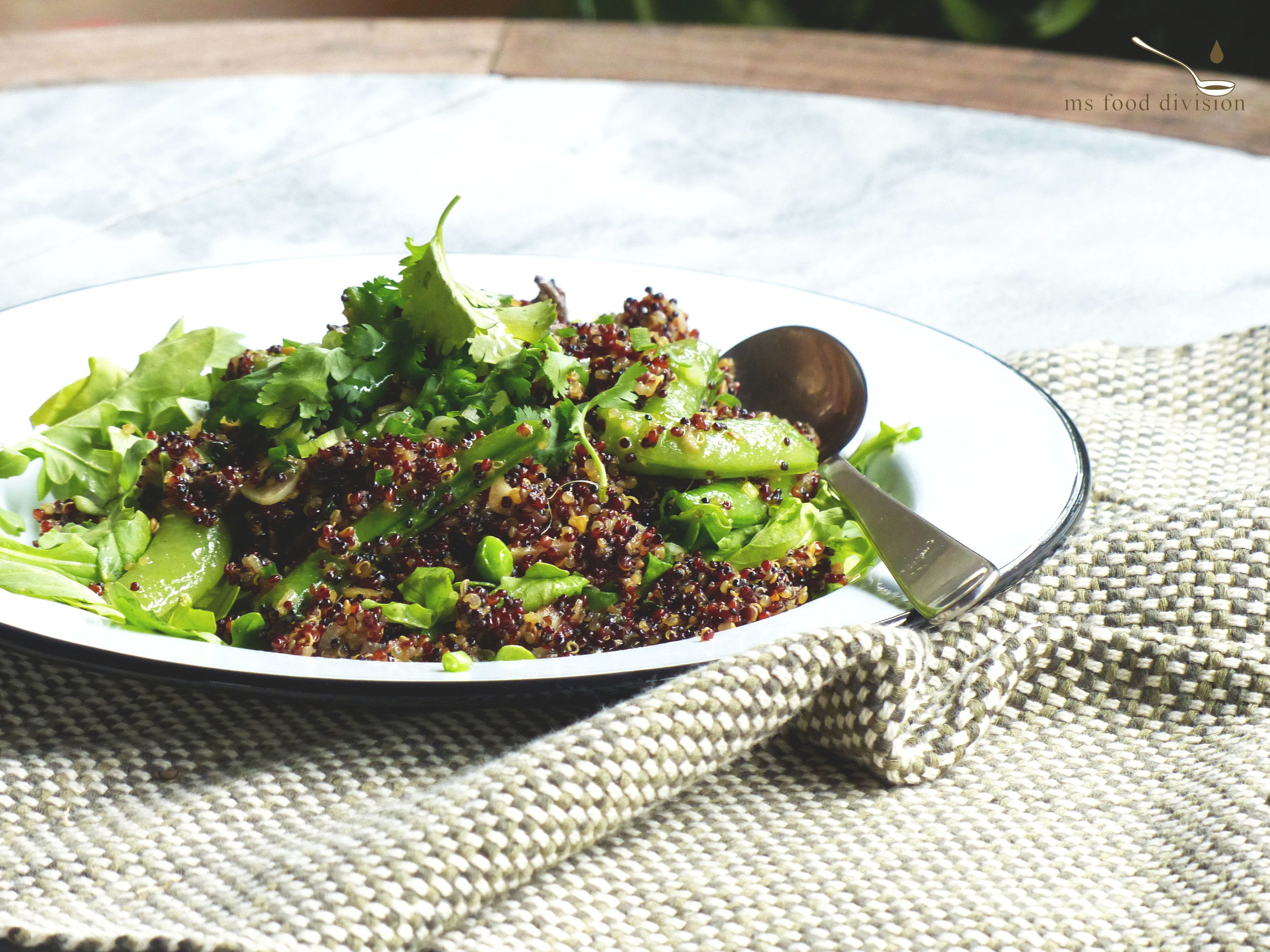 an asian flavored quinoa salad - gingery mushroom and sugar snap peas quinoa