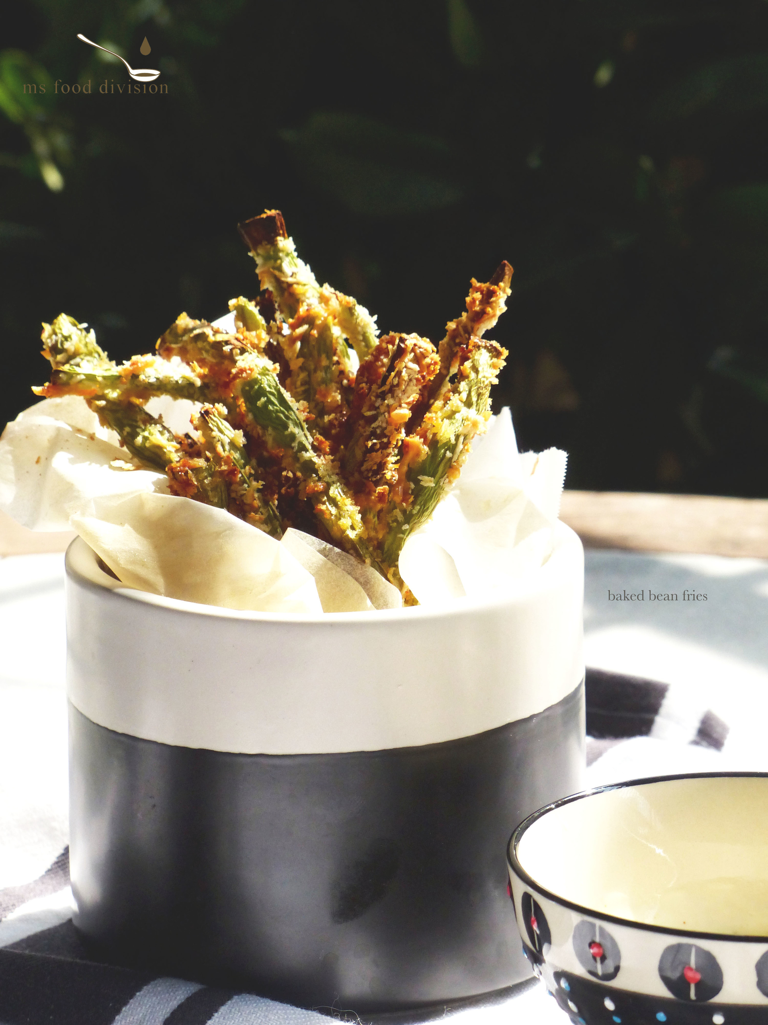 I serve my bean fries with my all time favorite lime aioli. Just a little lime juice with garlic, cayenne powder and mayonnaise.