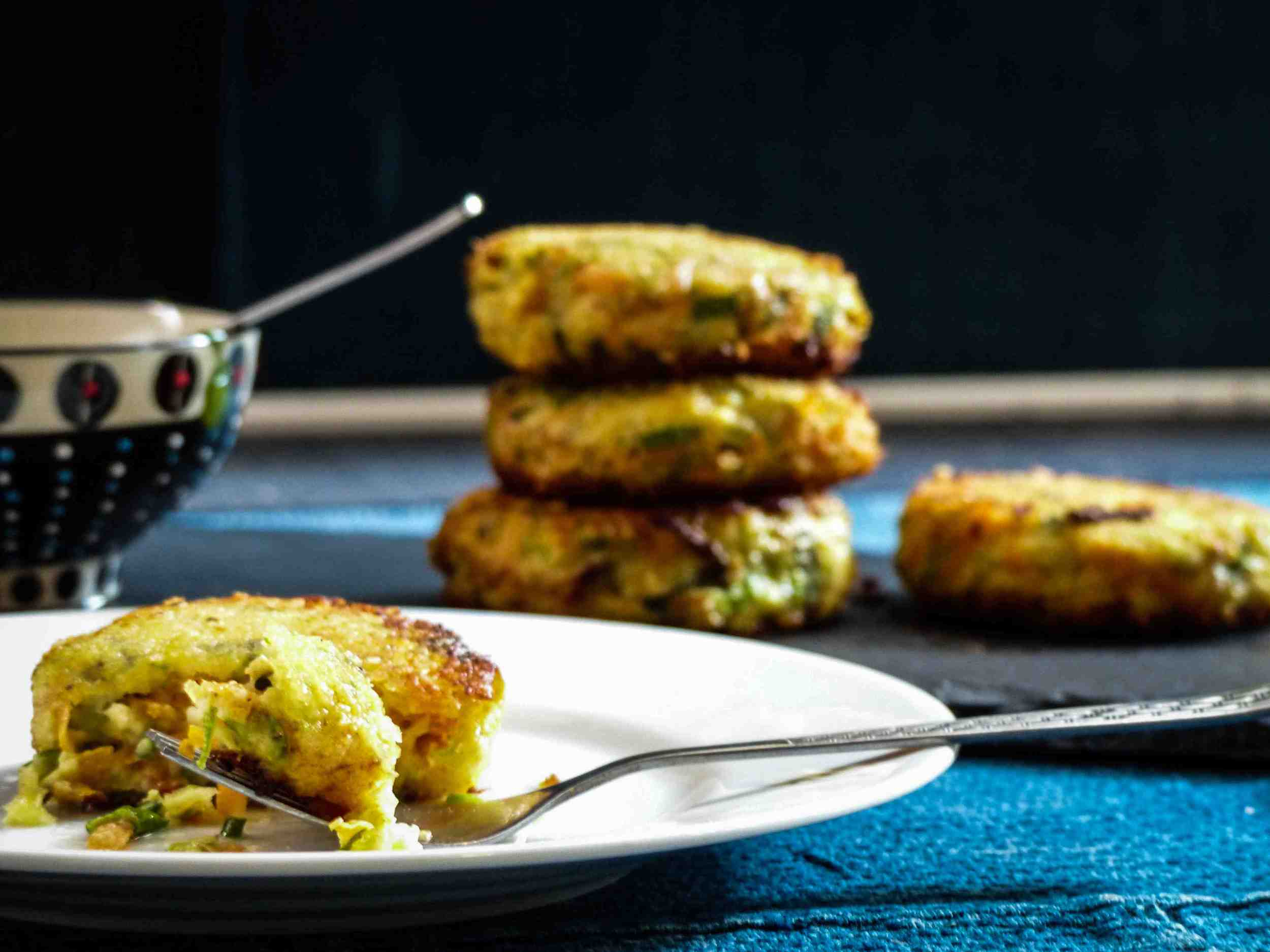 cheesy chinese zucchini and carrot patties with sweet and spicy sauce - enjoy :)
