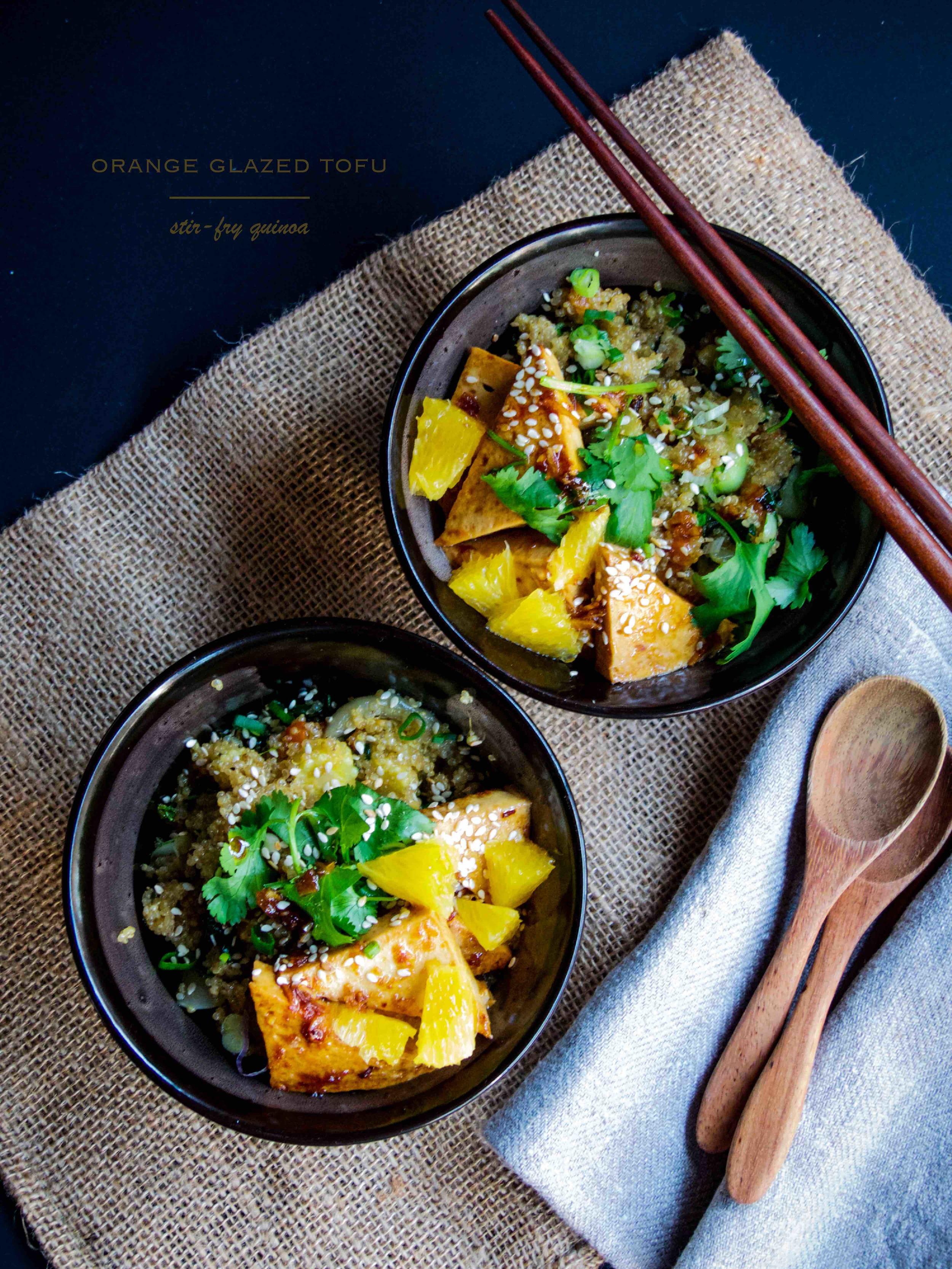 Orange glazed tofu + stir-fry chinese veggies quinoa --