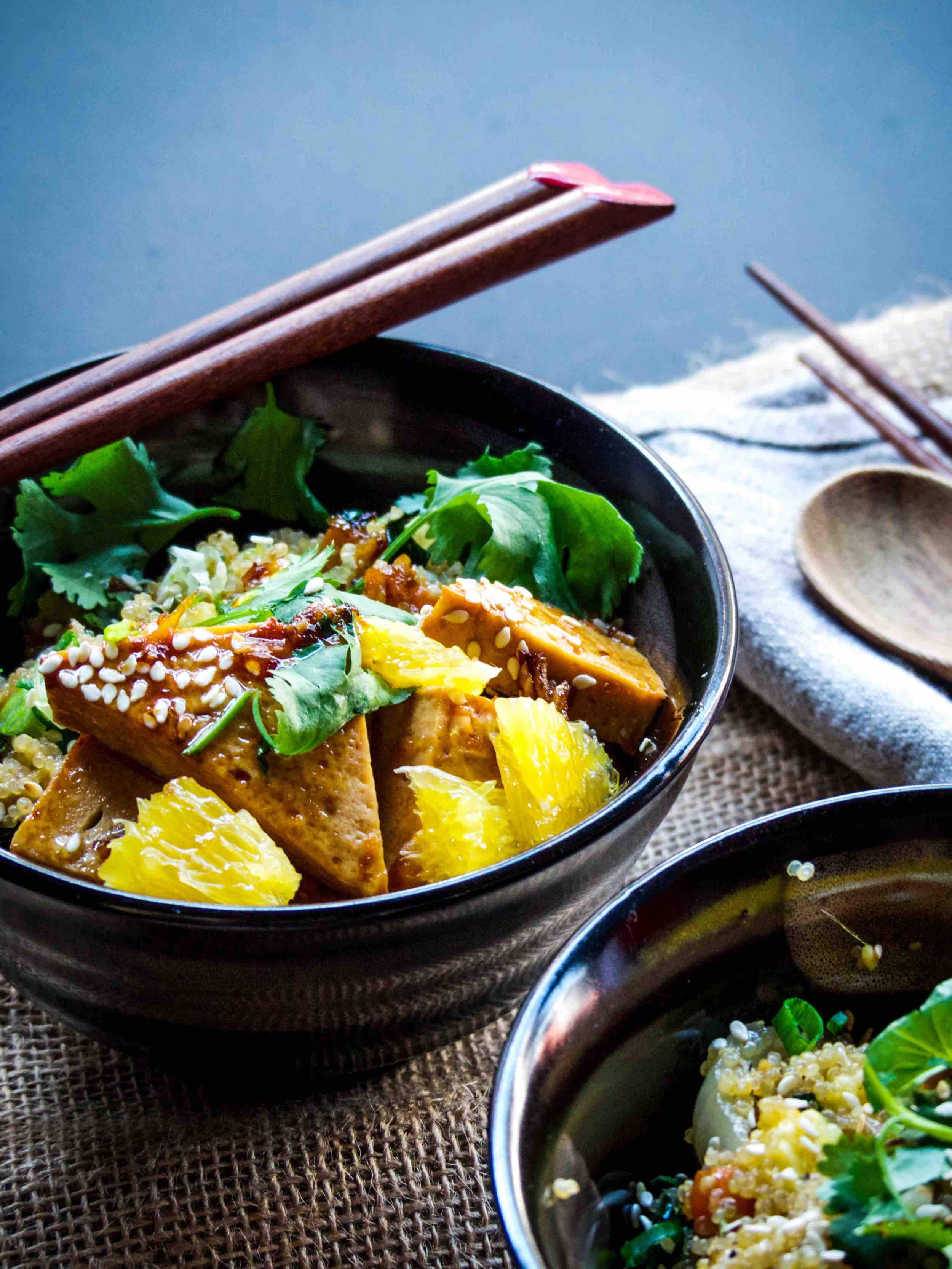This dish is packed with goodies!  - Orange glazed tofu with stir fry chinese veggies quinoa