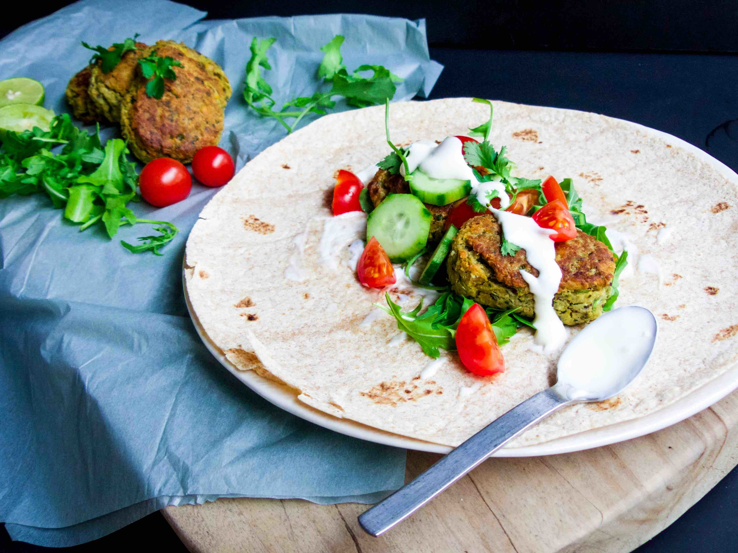 simple oven-baked falafel served with tortilla wrap