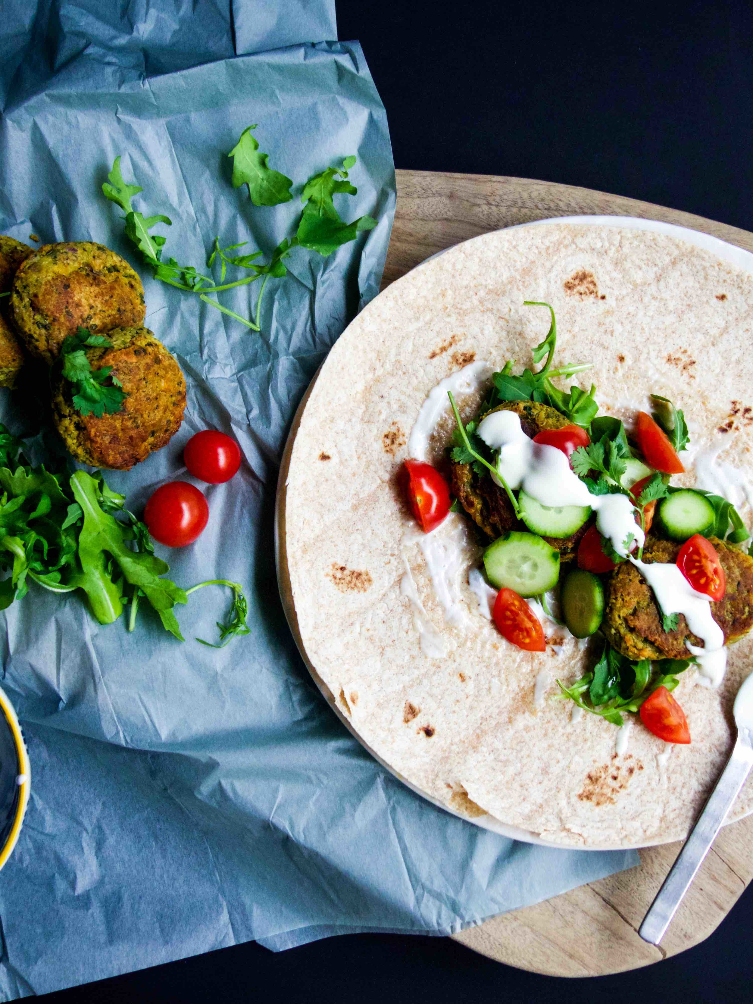 simple oven-baked falafel with tortilla wrap