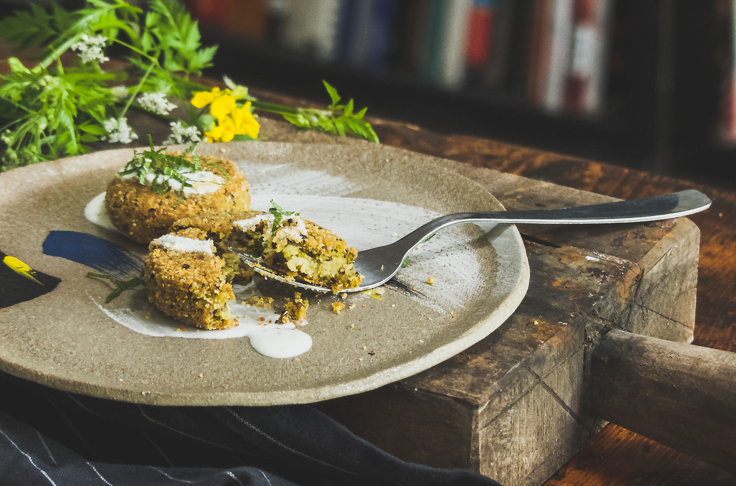 Fava & Quinoa Falafel Patties with Lemon Mint Yoghurt Dressing (Special thanks to   Mariane Chan   ceramics)