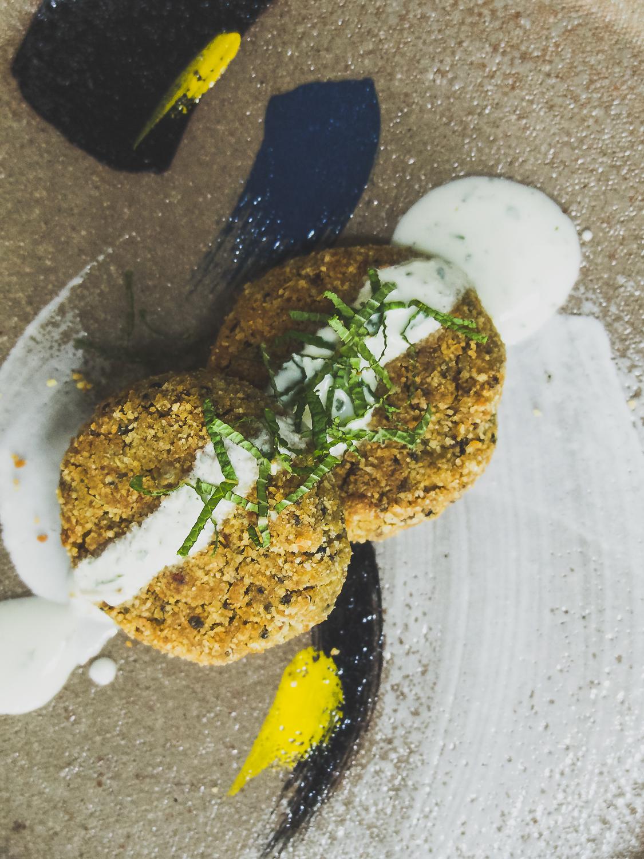 Fava & Quinoa Falafel Patties with Lemon Mint Yoghurt Dressing (Special thanks to   Mariane Chan   ceramics)