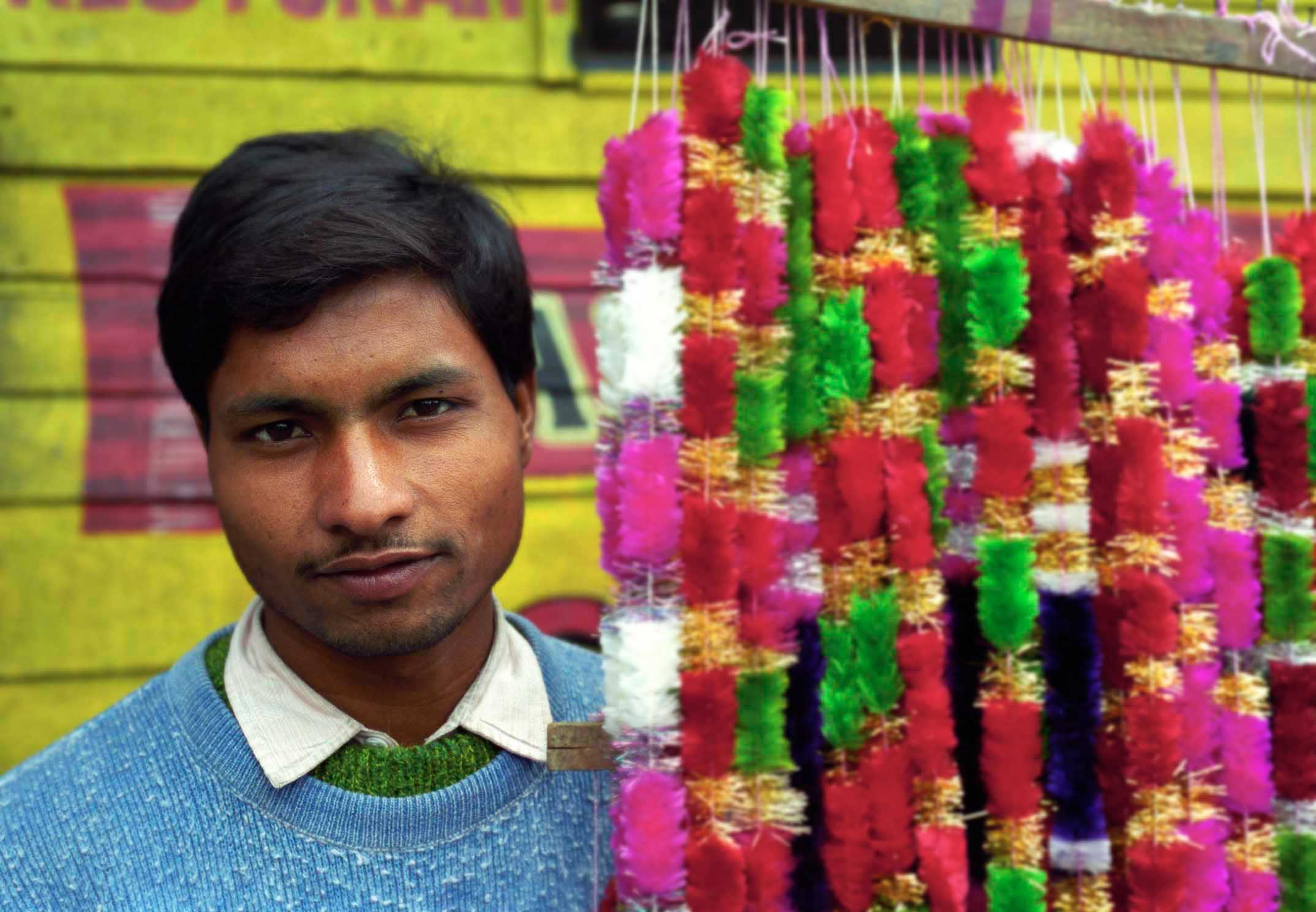 Selling garlands for Diwali festival