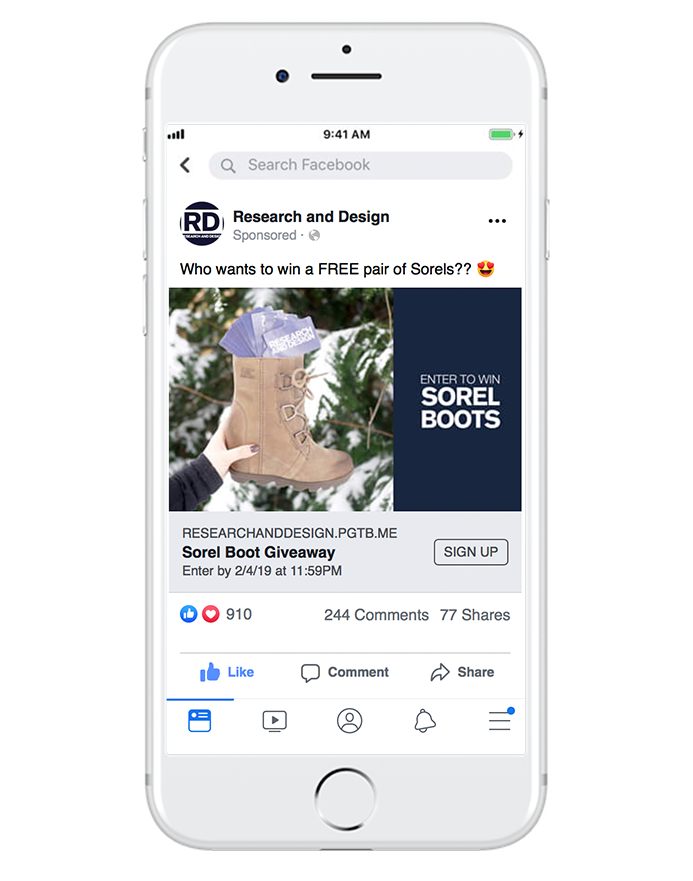 giveaways - Giveaways are a great way to get a ton of reactions and buzz around your business. By taking users to an outside form, we'll also collect email addresses from your Facebook audience to build your email database.