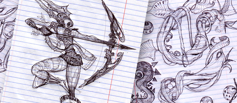 BALLPOINT UNIVERSE's artstyle is created with ballpoint pen illustrations