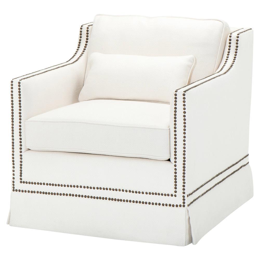 White Herringbone Linen Club Chair $2,213.00