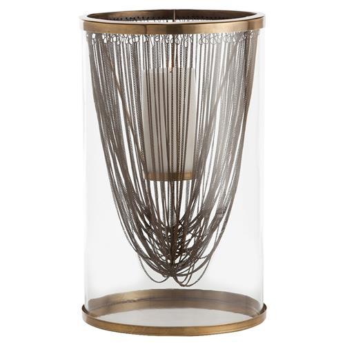 Draped Brass Chain Glass Hurricane $388.00