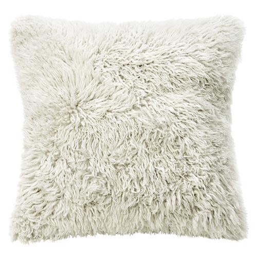 Grable Modern Milk White Curl Long Wool Pillow - 22x22 $140.00