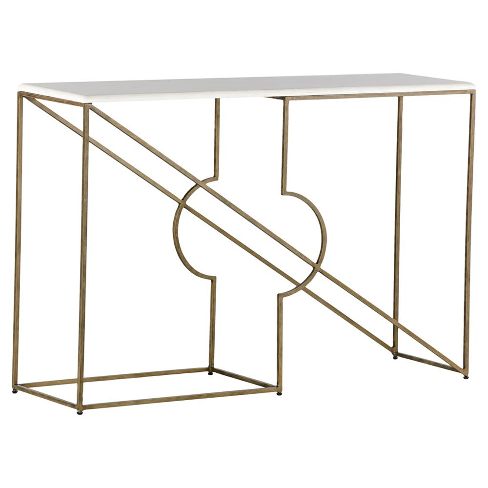 Yesenia Brushed Brass Faux Bone Axis Console Table $873.00