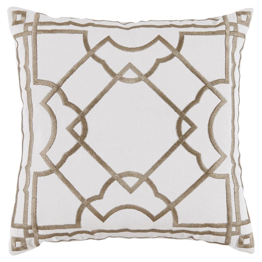 Cugat Embroidered White Pillow - 20x20 $225.00