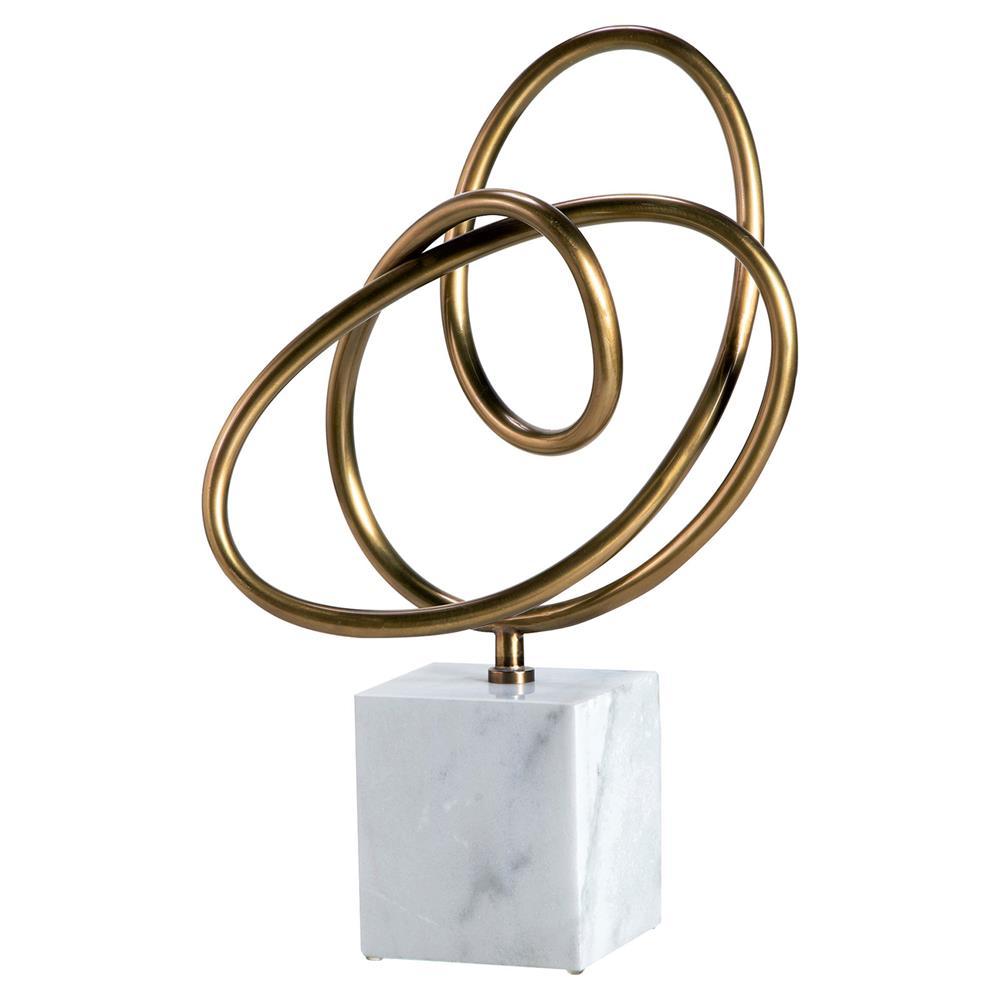 Jaydel Modern Classic Brass Knot White Marble Sculpture $653.00