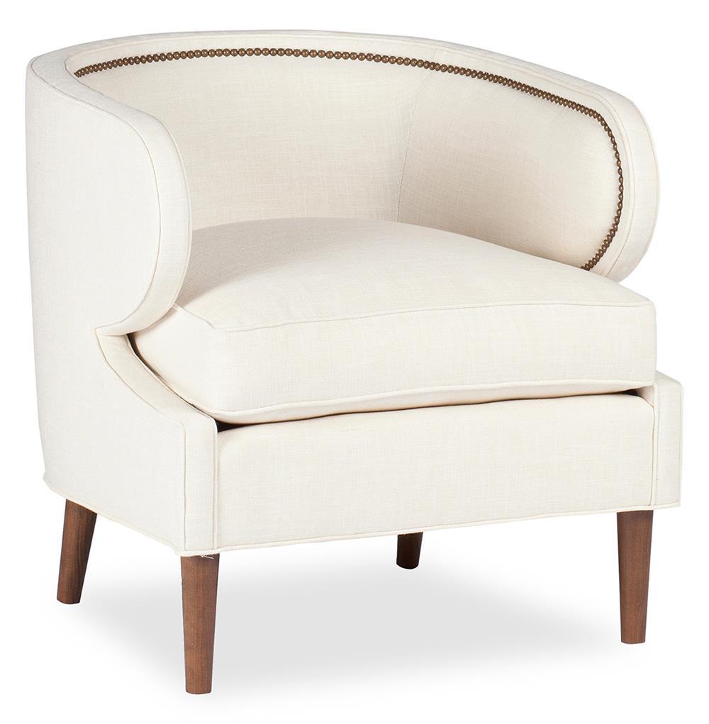 Monroe Hollywood Regency Deco Ivory Linen Arm Chair $1,417.00