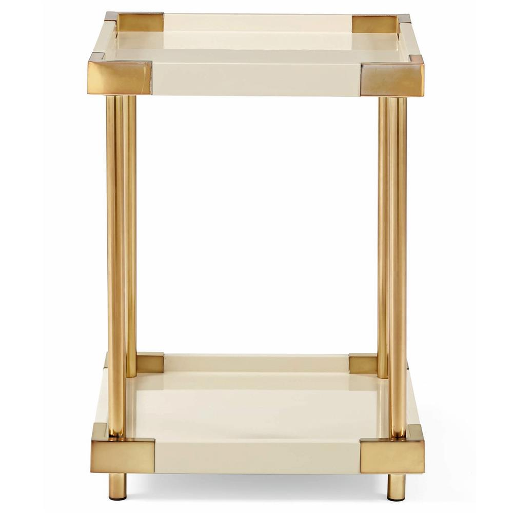 Elena Hollywood Regency Ivory Lacquer Brass Square End Table $667.00