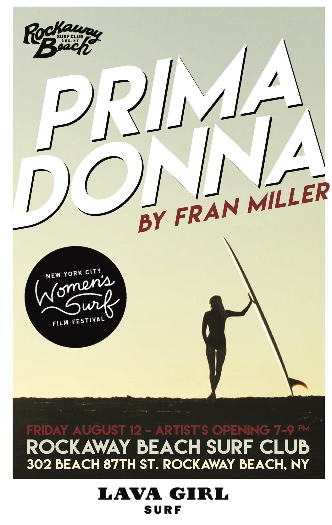 prima donna fran miller lava girl surf art exhibition rockaway beach surf club