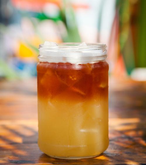 Piña Colada Cocktail - Gosling's Rum, Cruzan Coconut Rum, Fresh Pineapple, On the rocks.