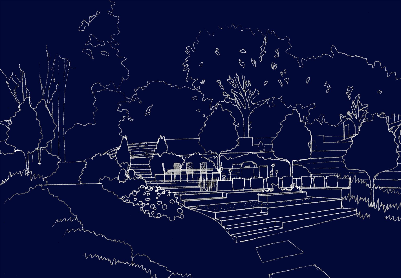 Cottage garden sketch perspective