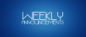 Weekly Announcements for January 28th
