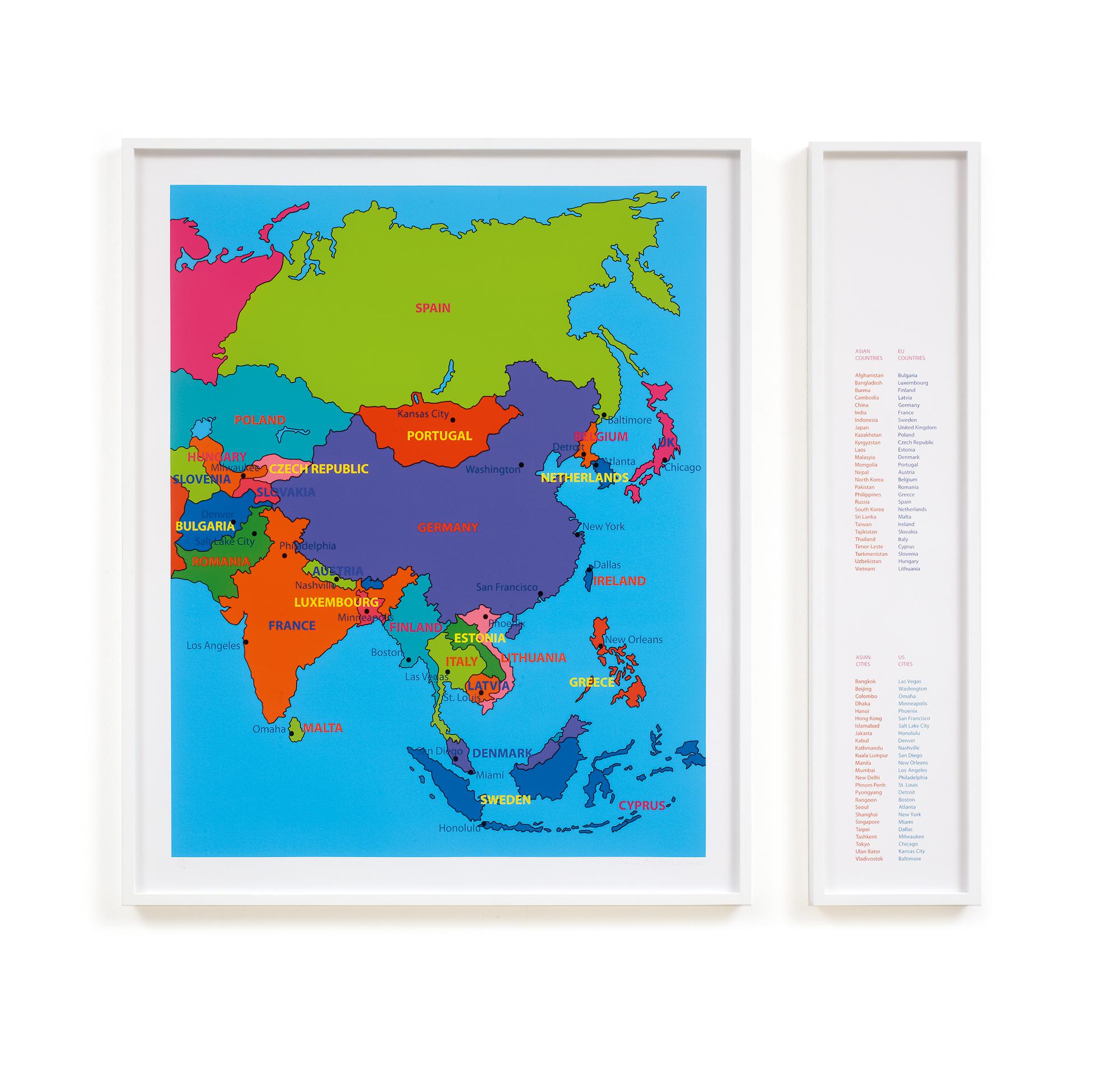 Michael Craig-Martin  Globalisation •2012 Impressão a jato de tinta Edição: 40 Mapa: 118.8 x 91.4 cm Legenda: 118.8 x 22.8 cm