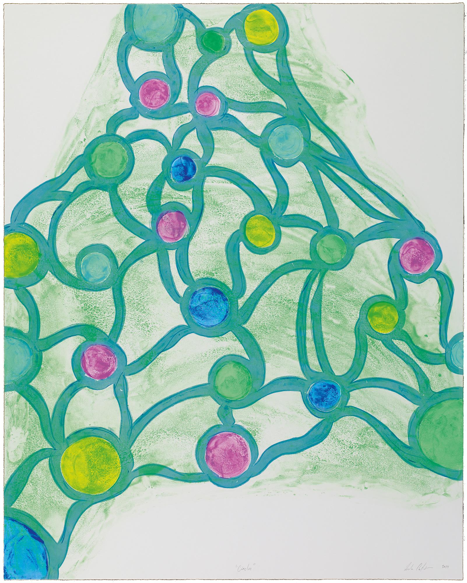 Leda Catunda   Circles • 2014   Xilogravura sobre gravura em polímero Edição: 60   90 x 72 cm