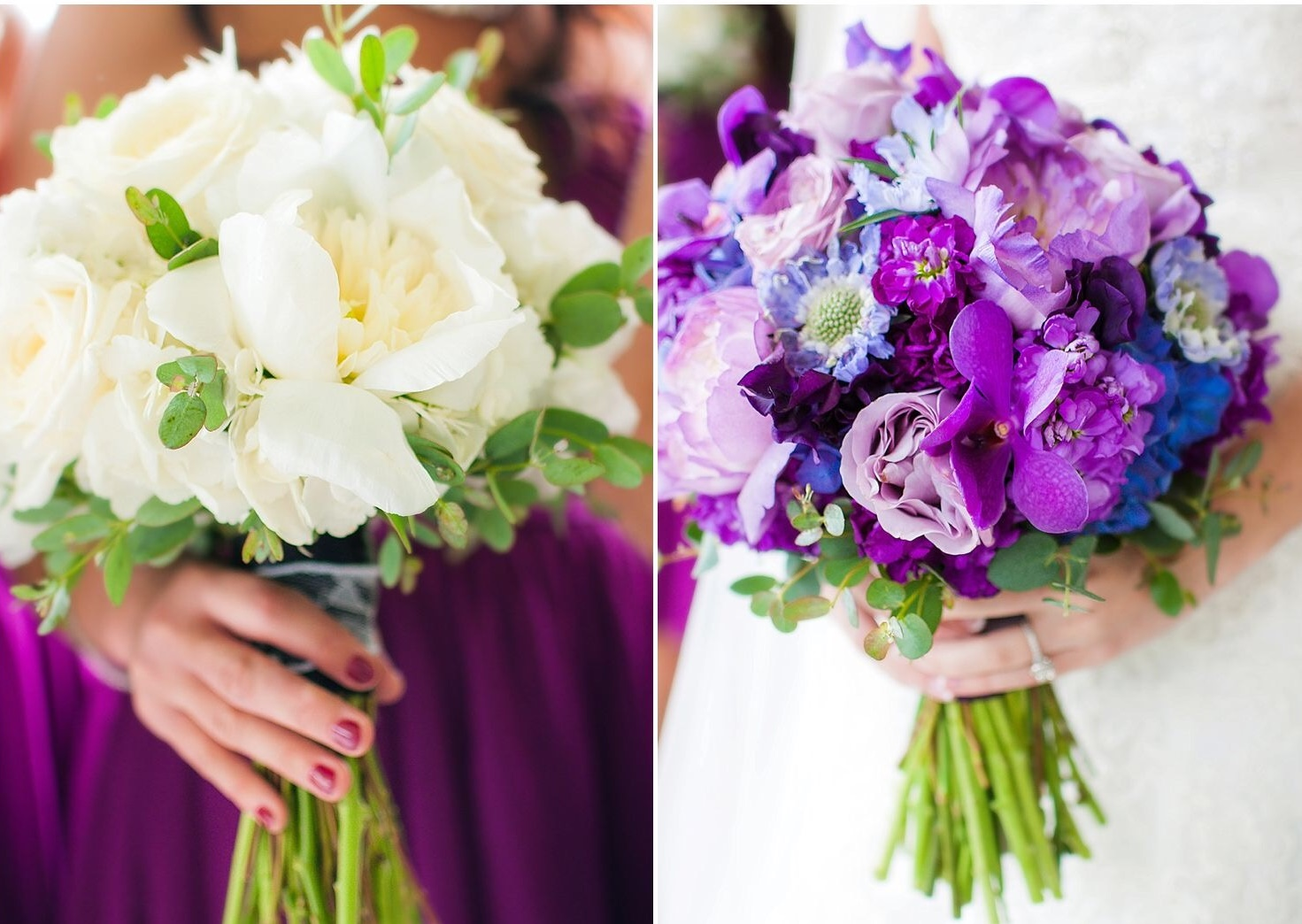 Lush peonies & scabiosa looking stunning & in season for a late May wedding. Photo by  M.Rinaye Photography .