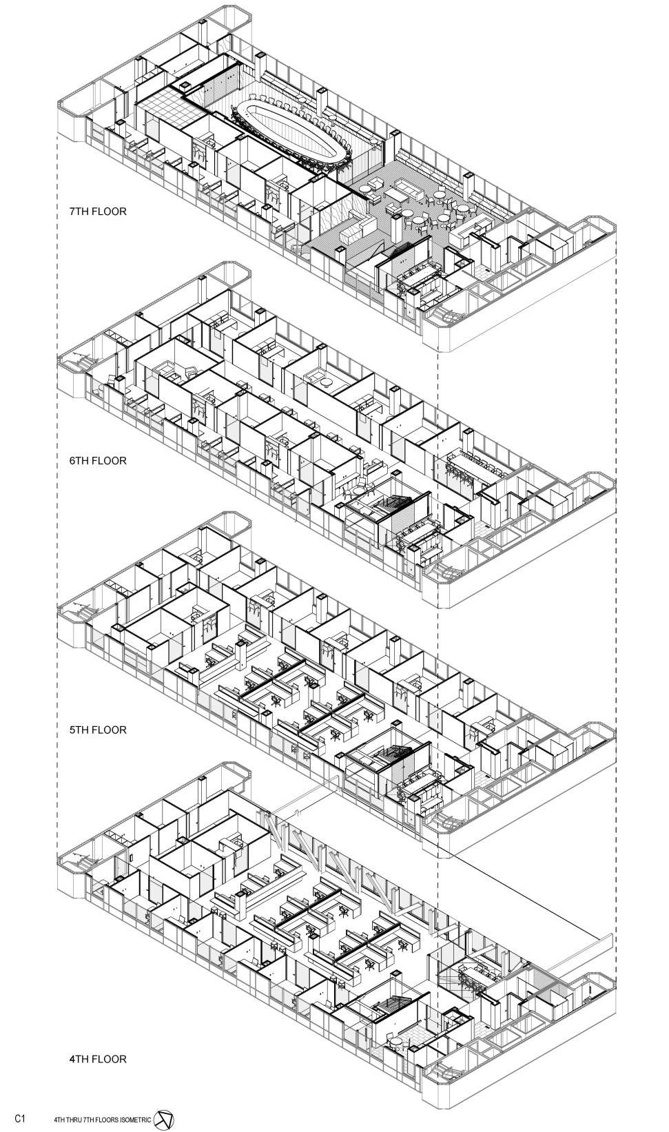 Exploded Isometric of Floors 4-7