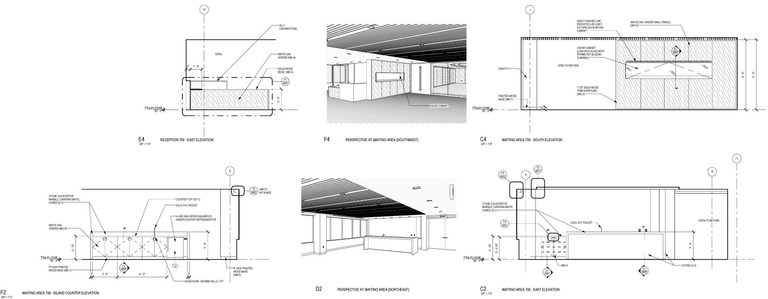 Interior Elevations with Corresponding Perspectives
