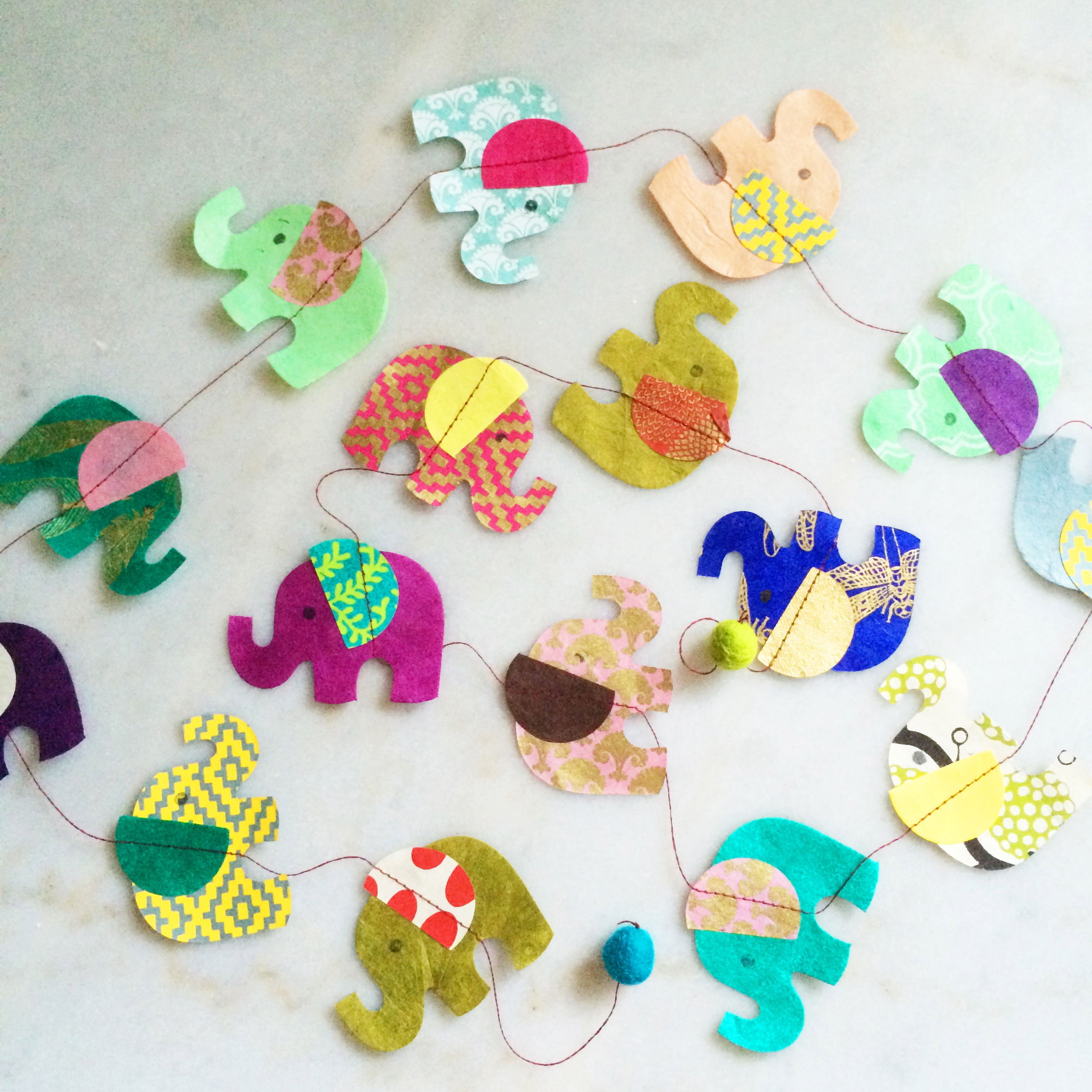 some handmade (not by me) crepe paper elephants.