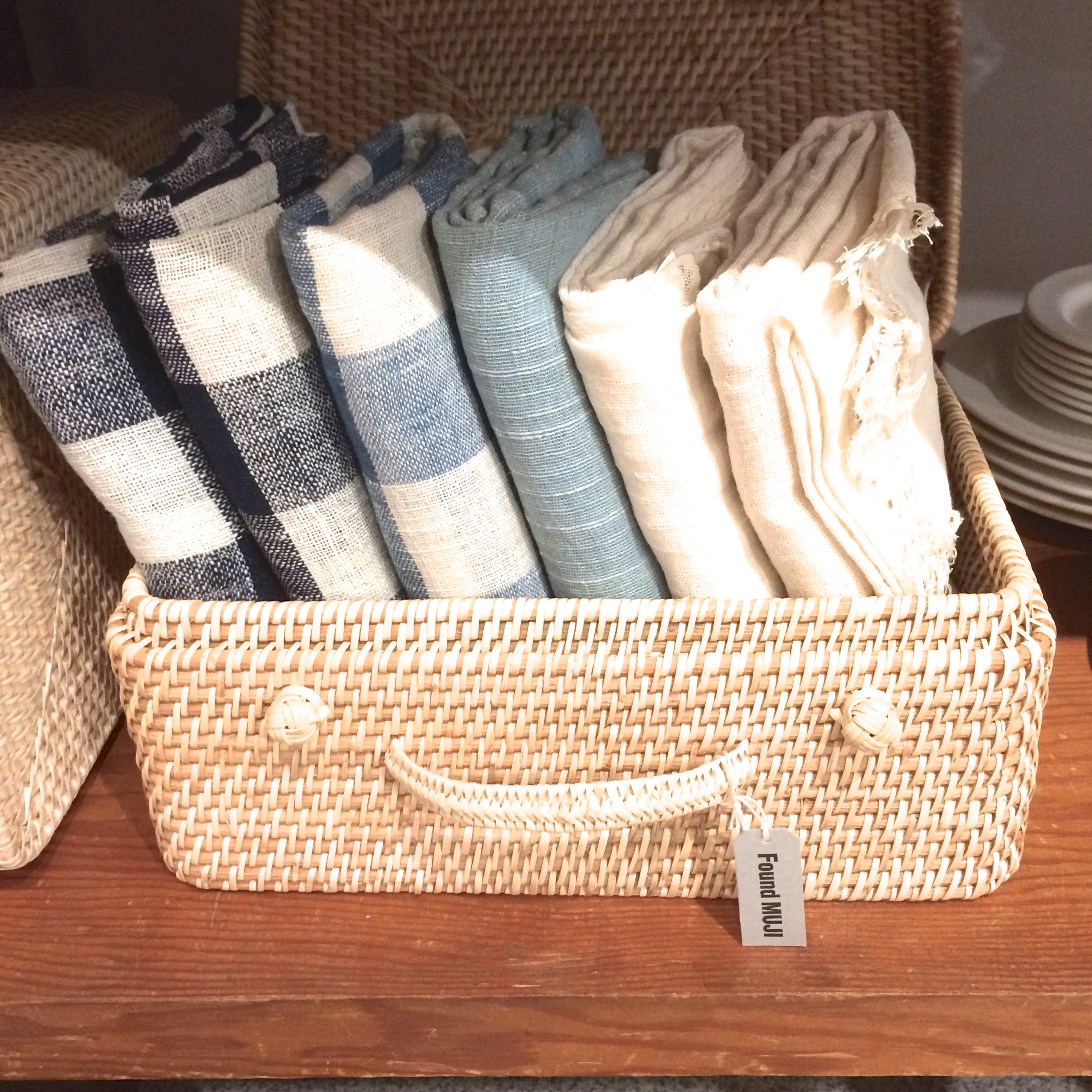 kitchen linens in shades of blue.