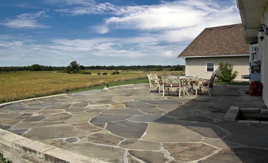 Flagstone Patio with a View