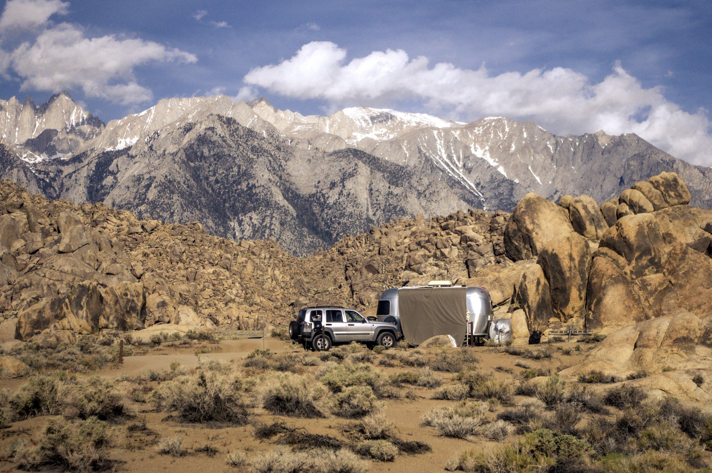 Dispersed car camping. Lone Pine, California.