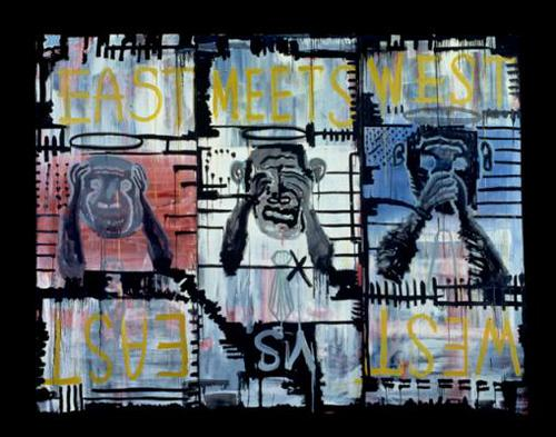 East Meets west, East Vs West - 7' x 3' (x3) - 1991 Oil on canvas, oil stick