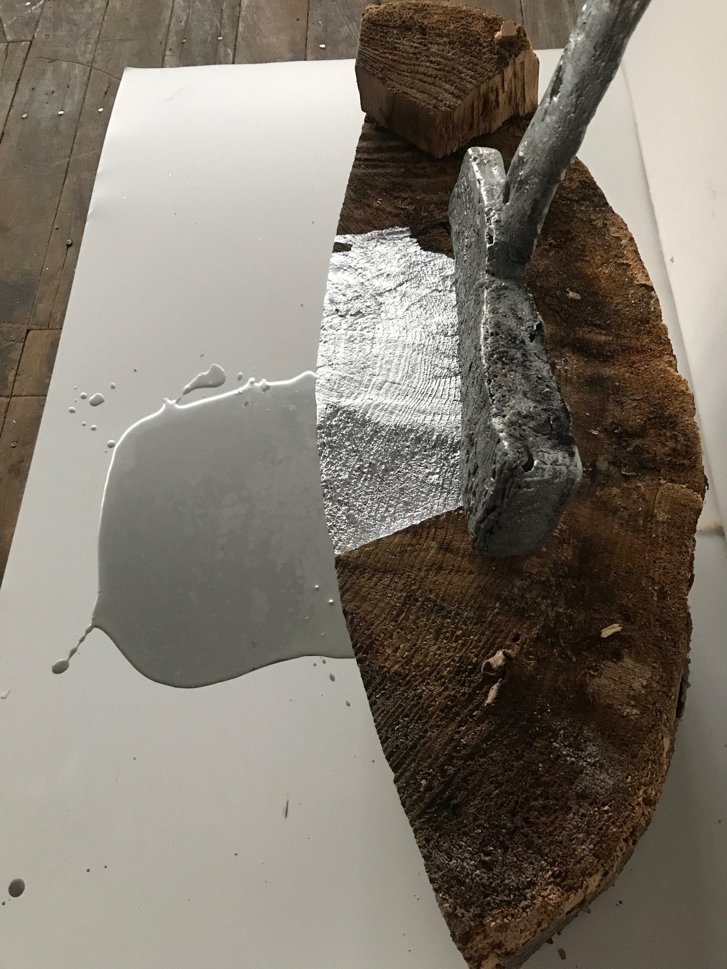 """52"""" x 48"""" x 24""""  cast zinc, wood, paint"""
