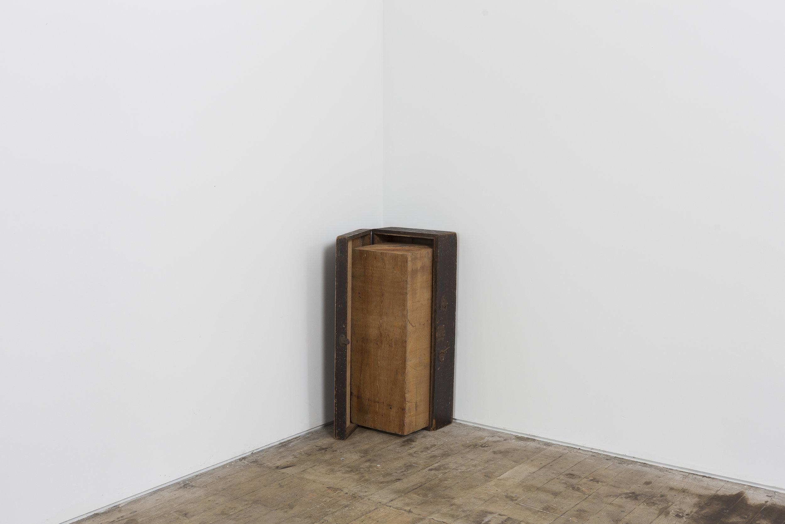 """34"""" x 20"""" x 17""""  Wood Box, Western Red Cedar Wood Form, Inside Corner Room Installation"""