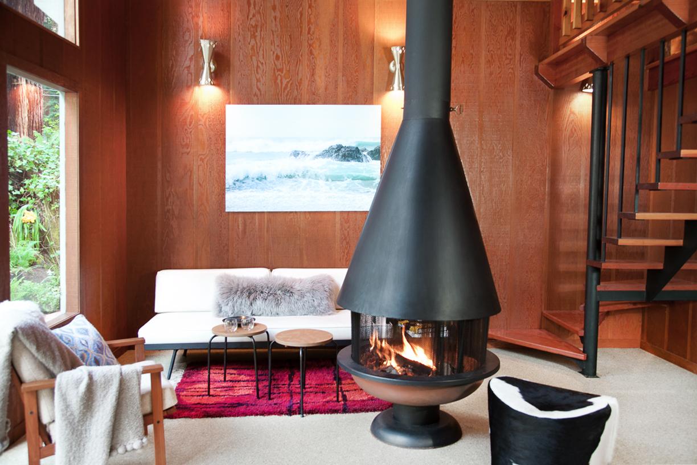 mid-century cabin, cazadero  interior design