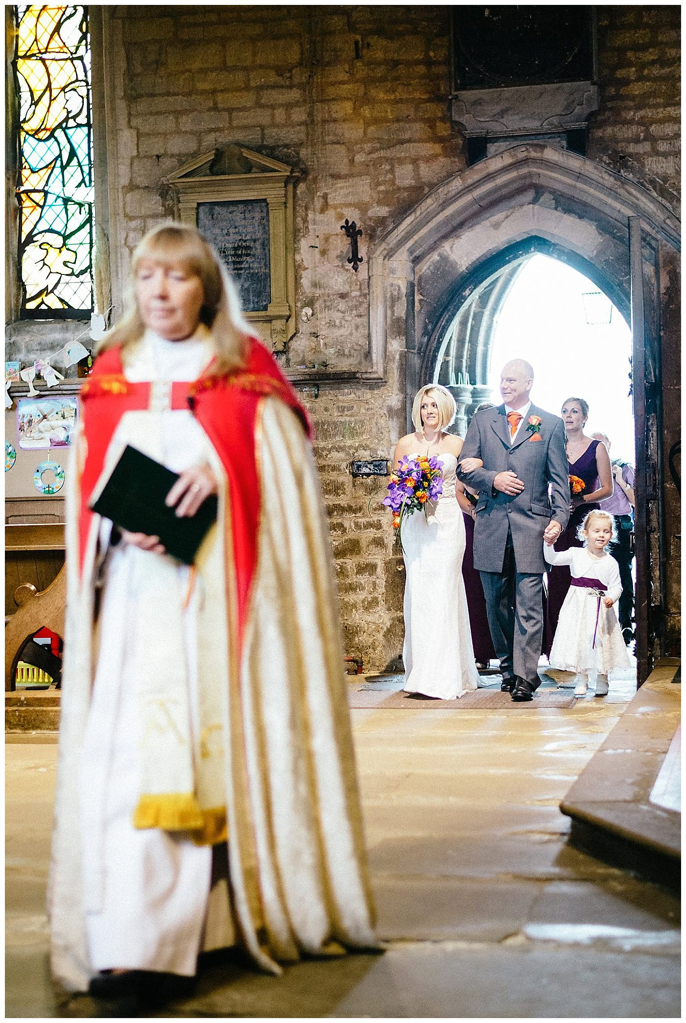 Bride and father enter church