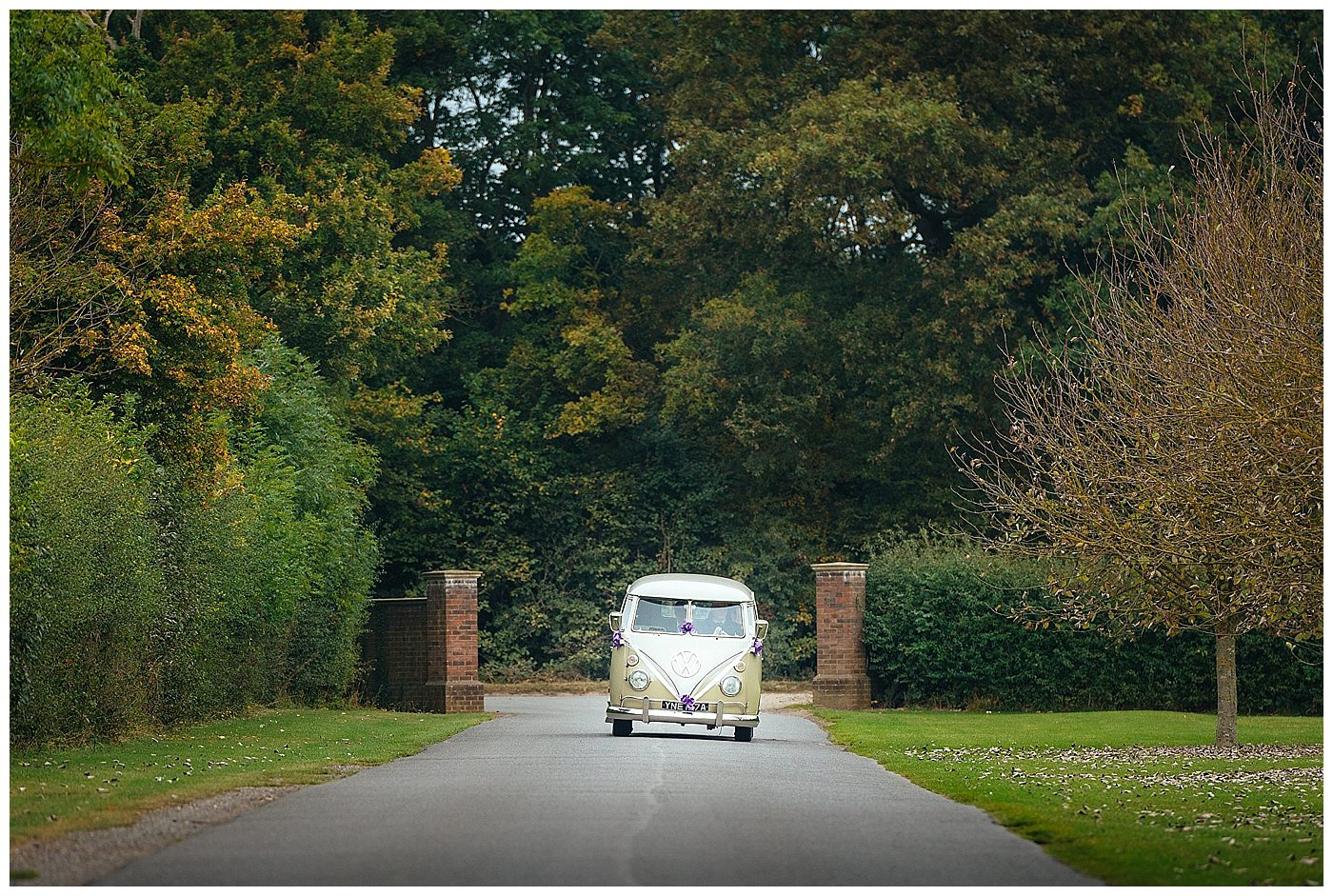 Bride and Groom travelling to venue in VW camper