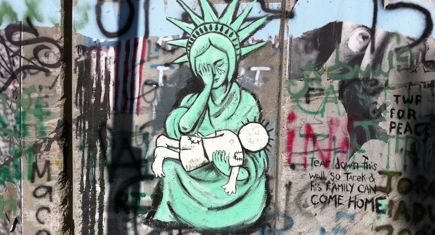 Give me your tired, your poor, Your huddled masses  yearning  to breathe free, The  wretched  refuse of your teeming shore. Send these, the  homeless ,  tempest -tossed to me, I lift my lamp beside the  golden  door!