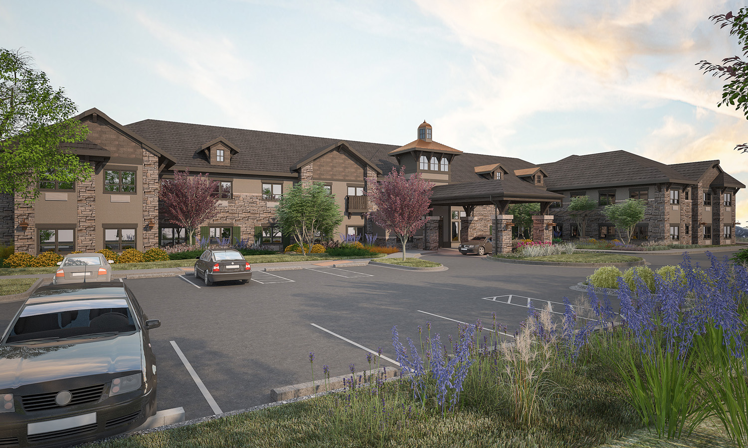 The Peaks at Old Laramie Trail Render of Front Parking