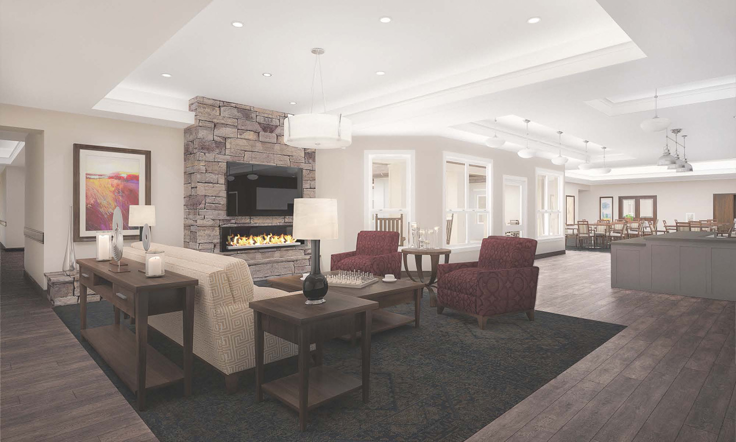 The Peaks at Old Laramie Trail Living Room Render