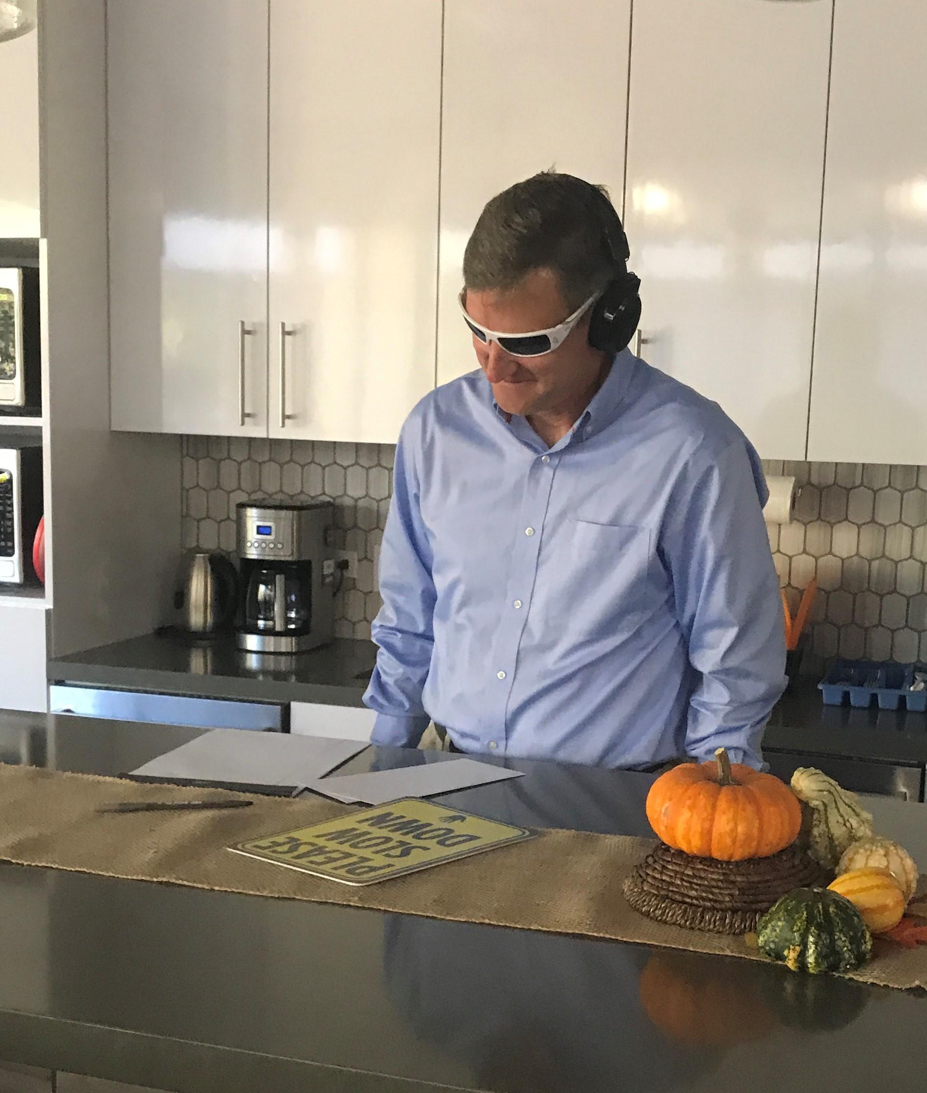Vice President Mark going working through the Virtual Dementia Tasks