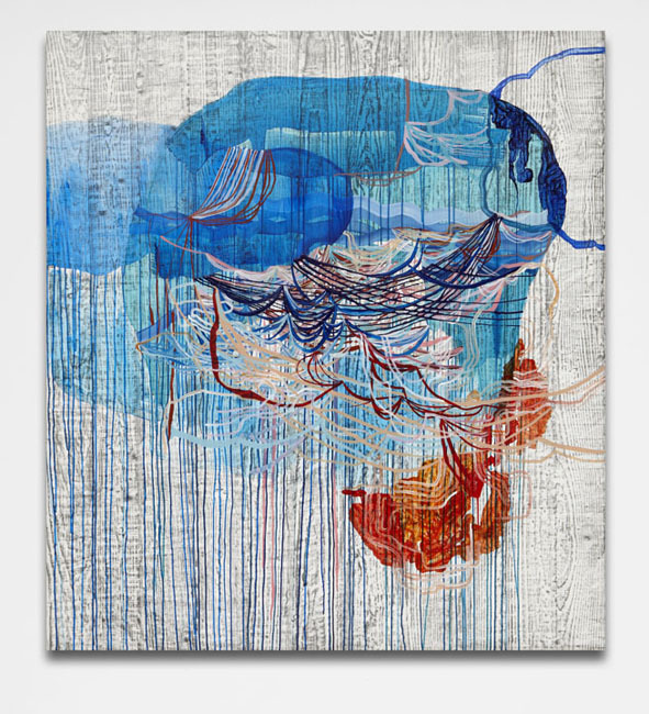 Disturbance,  2013 Graphite and fluid acrylic on Yupo 60 x 54 inches