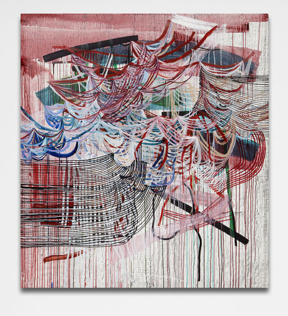 Sway (red) , 2013 Graphite and fluid acrylic on Yupo 60 x 54 inches
