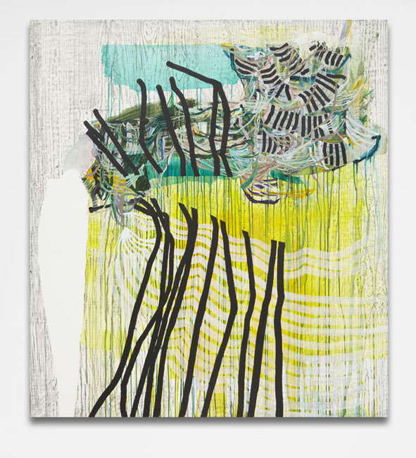 Split (yellow),  2013 Graphite and fluid acrylic on Yupo 60 x 54 inches