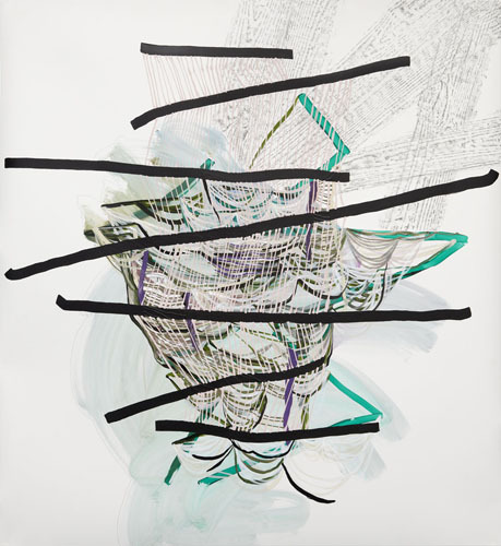 Pull , 2012 Graphite, fluid acrylic and ink on yupo 60 x 55 inches