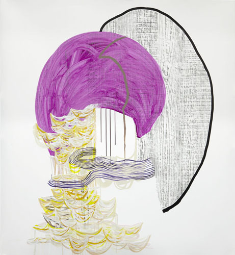 What is Left , 2012 Graphite, fluid acrylic and ink on yupo 60 x 55 inches