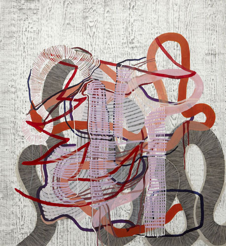 Ravel (pink) , 2012 Graphite, fluid acrylic and ink on yupo 60 x 55 inches